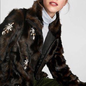 0efe5fea Zara Jackets & Coats | Bejeweled Fur Jacket | Poshmark
